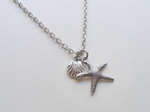 Starfish and Seashell Charm Necklace