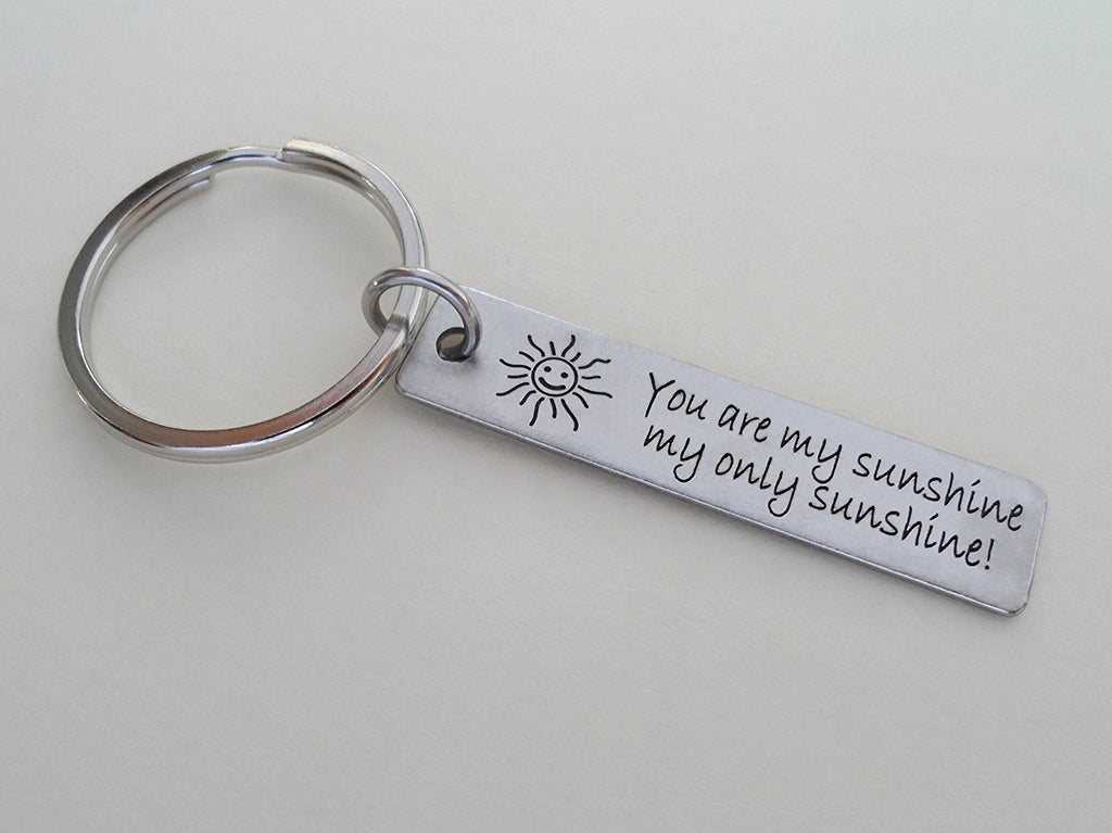 "Steel Tag Engraved with ""You Are My Sunshine"" Saying and Sun image Keychain"