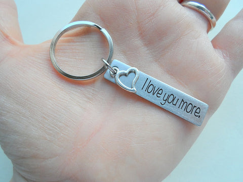 "Steel Tag Engraved with ""I Love You More"" With Heart Charm Keychain"