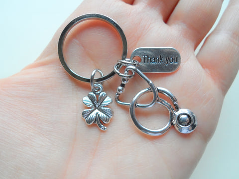 Stethoscope & Clover Charm Keychain, Nurse Gift, Hospital Staff Appreciation Gift, Medical Team Gift, Thank You Gift