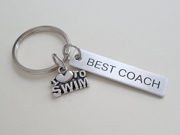 "Swim Coach Gift - Appreciation Gift, Engraved ""Best Coach"" Keychain"