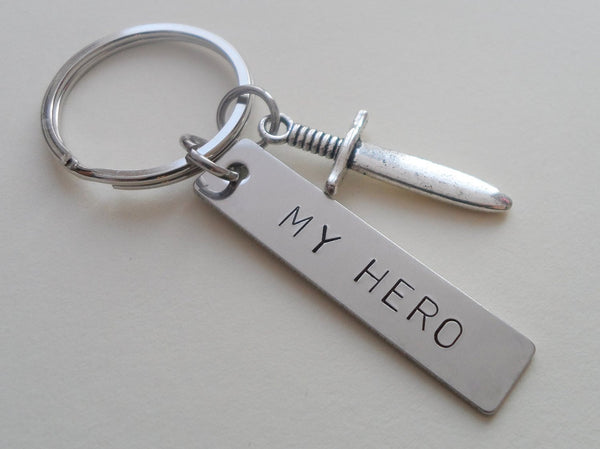 "Sword Charm and ""My Hero"" Hand Stamped Keychain, Hand Stamped Steel Tag Keychain"