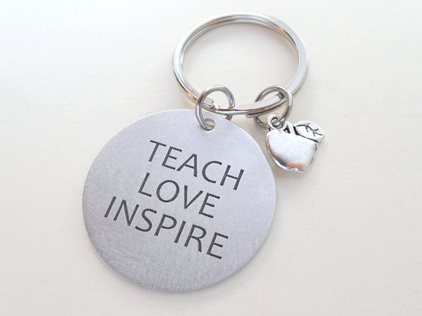 "Teacher Appreciation Gifts • ""Teach, Love, Inspire!"" Aluminum Disc w/ Apple Charm Keychain by JewelryEveryday"