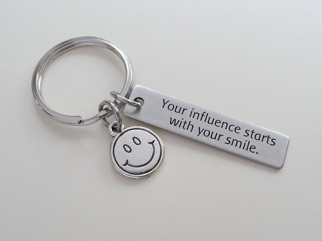 "Teacher Appreciation Gifts • ""Your influence starts with your smile"" Stainless Steel Tag & Smiley Face Charm Keychain by JewelryEveryday"
