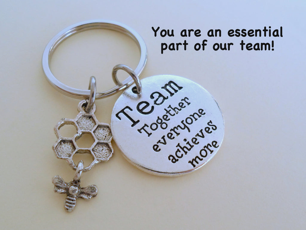 "Employee Appreciation Gifts • Team Disc and Bee & Beehive Charm Keychain by JewelryEveryday w/ ""You are an essential part of our team"" Card."