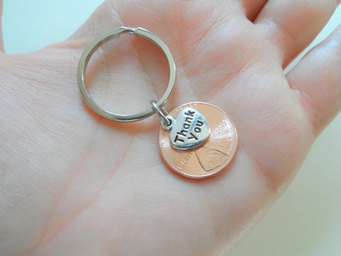 "Employee Appreciation Gifts • ""Thank You"" Tag & 2020 Penny Keychain by JewelryEveryday w/ ""Lucky to work with you!"" Card"