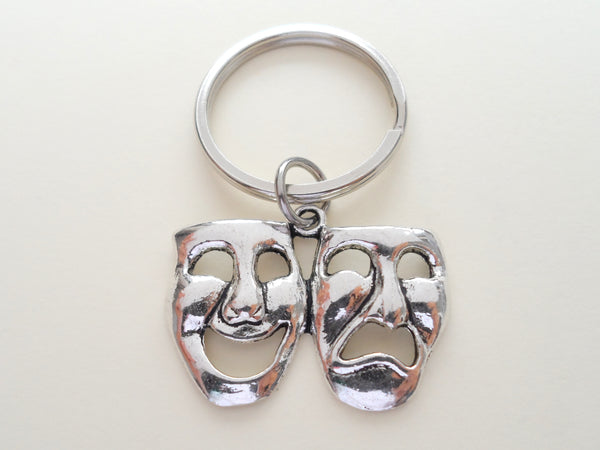 Theatre Masks Keychain, Mask Charm, Drama Keychain, Graduation Gift Keychain, Actors Keychain, Theatre Face, Theater Keychain