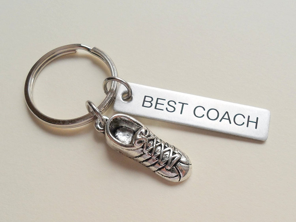 "Track Coach Appreciation Gift • Engraved ""Best Coach"" Keychain 