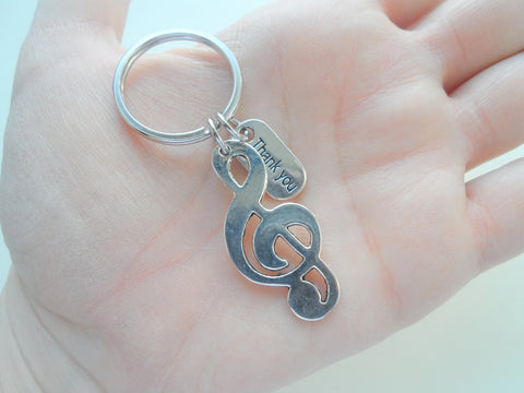 Treble Clef Charm Keychain, Music Teacher Gift - Without Music Life Would B♭