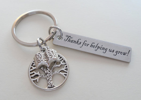"Teacher Appreciation Gifts • ""Thanks for helping us grow!"" Engraved Steel Rectangle Tag w/ Tree & Book Charm Keychain by JewelryEveryday"