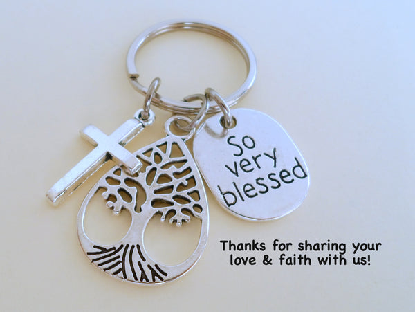 Tree, Cross, So Very Blessed Charm Keychain, Religious Teacher Gift, Neighbor Gift