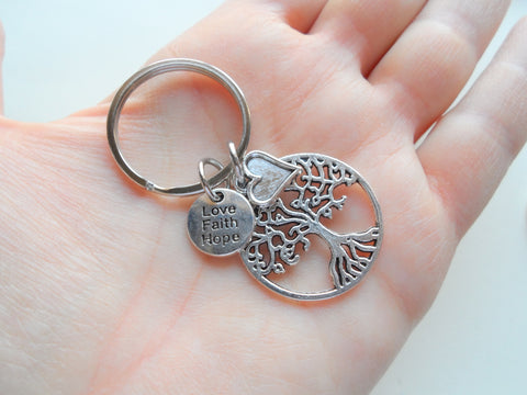 Tree, Heart, Love Faith Hope Charm Keychain, Religious Keychain, Christian Keychain, Belief Keychain