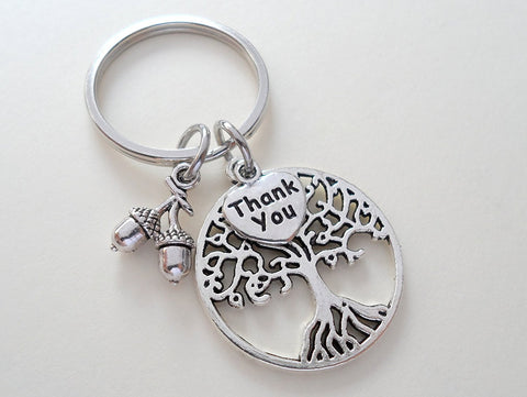 "Teacher Appreciation Gifts • ""Thank You"" Tag, Tree, & Seeds Keychain by JewelryEveryday w/ ""Thanks for helping our students grow!"" Card"