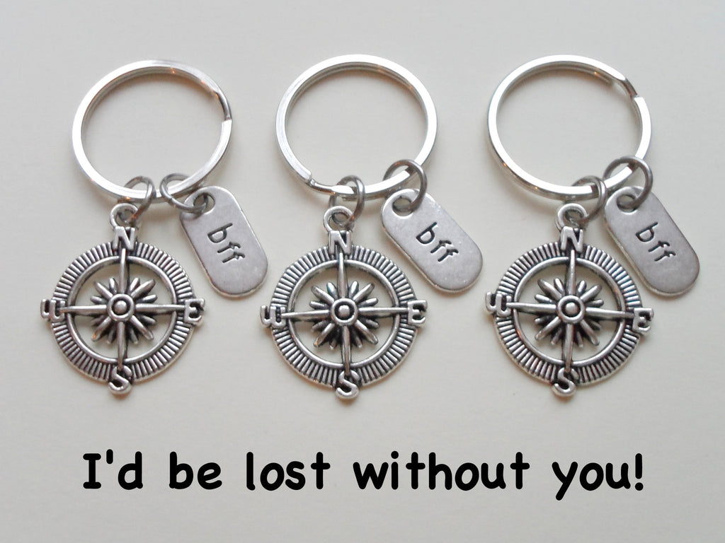 Triple BFF Open Metal Compass Keychains - I'd Be Lost Without You; Best Friends Keychain Gift