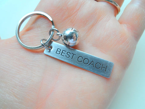 "Volleyball Coach Appreciation Gift • Engraved ""Best Coach"" Keychain 