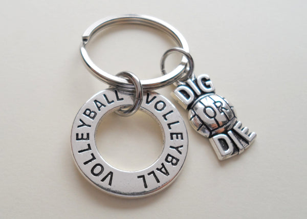 Volleyball Ring & Dig or Die Charm Keychain, Volleyball Keychain, Graduate Gift, Team Gift Keychain