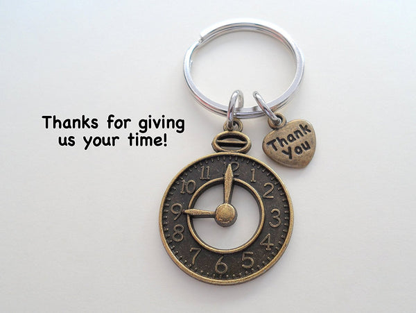 "Volunteer Appreciation Gifts • ""Thank You"" Tag & Bronze Clock Charm Keychain by JewelryEveryday w/ ""Thanks for giving us your time!"" Card"