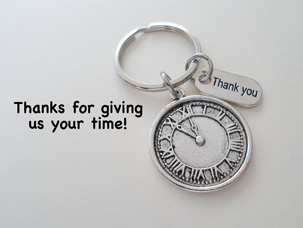 "Volunteer Appreciation Gifts • ""Thank You"" Tag & Silver Clock Charm Keychain by JewelryEveryday w/ ""Thanks for giving us your time!"" Card"