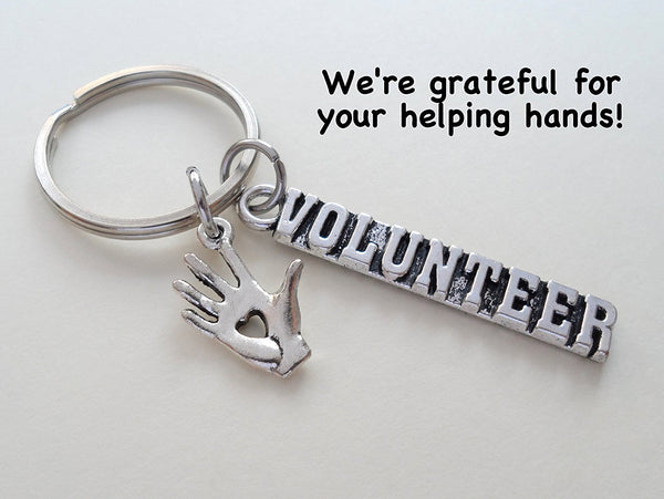 "Volunteer Appreciation Gift Keychain - ""We're Grateful For Your Helping Hands"""