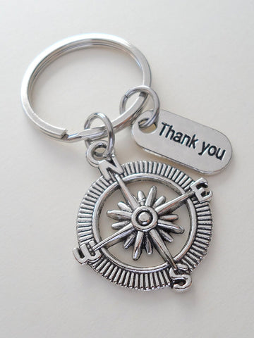 "Employee Appreciation Gifts • ""Thank You"" Tag & Silver Compass Keychain by JewelryEveryday w/ ""We'd be lost with out you!"" Card"