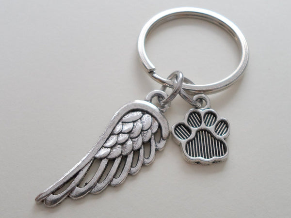 Dog Memorial Keychain • Cute Wing and Paw Charm | JE