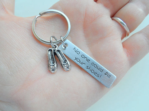 "Woman's Shoes Keychain with Engraved Steel Tag ""No One Could Fill Your Shoes"""