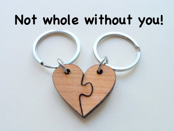 5 Year Anniversary Gift • Wood Heart Pieces Connecting Keychain Set - Not Whole Without You by Jewelry Everyday
