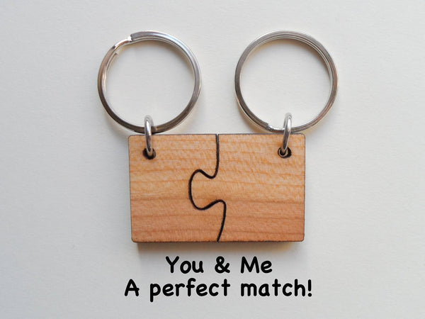 Wood Matching Puzzle Keychains -You & Me a Perfect Match; 5 Year Anniversary Gift