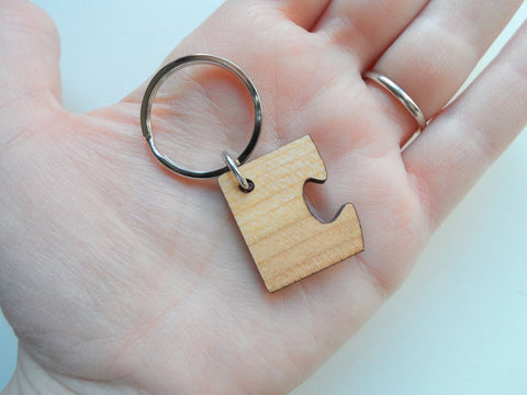 5 Year Anniversary Gift • Wood Matching Puzzle Keychains - You & Me a Perfect Match by Jewelry Everyday