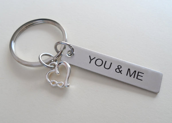 "11 Year Anniversary Gift • Stainless Steel Tag Keychain Engraved w/ ""You & Me"" w/ Heart Charm with Infinity Symbol by JewelryEveryday"