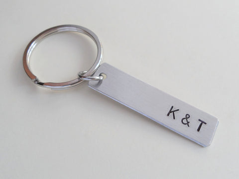 10 Year Anniversary Gift • Personalized Aluminum Tag Keychain Hand Stamped w/ Initials, Date & infinity charm by Jewelry Everyday