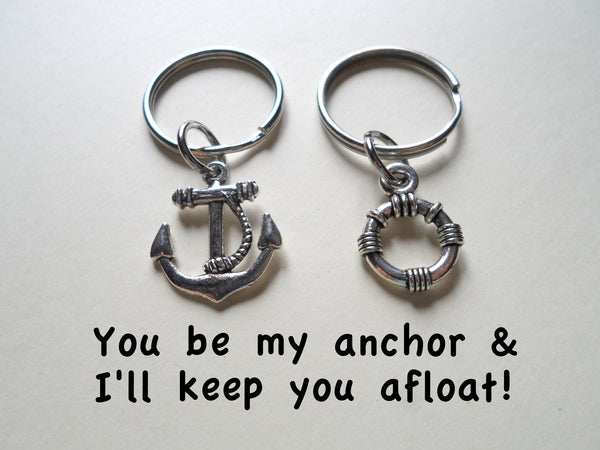 Small Life Saver & Anchor Keychain Set