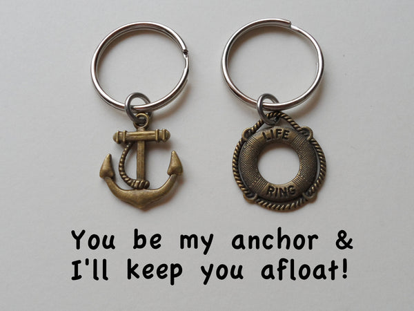 Bronze Anchor & Lifesaver Ring Keychain Set