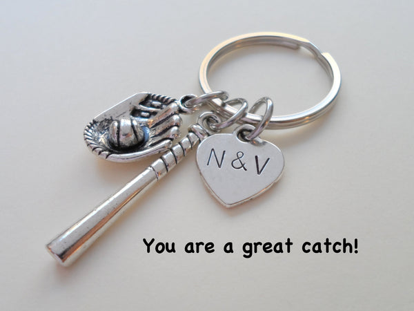 Baseball Bat and Mitt Keychain - You Are a Great Catch; Couples Keychain, Customization Options