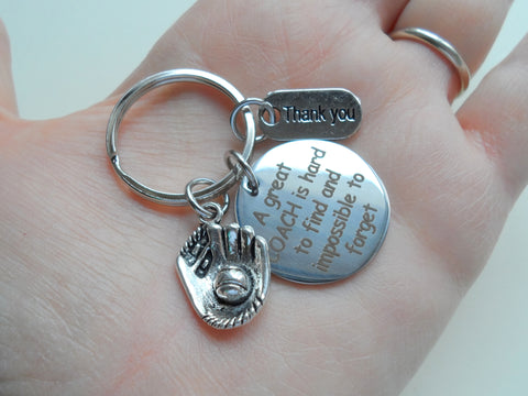 "Baseball Coach Appreciation Gift • Engraved ""A Great Coach is Impossible to Forget"" Keychain 