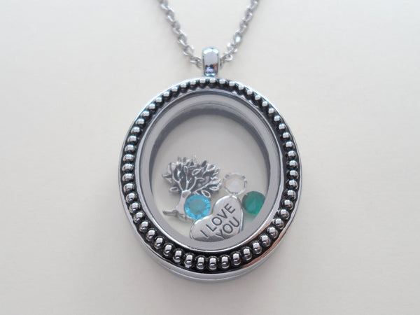 Personalized Black Oval Dot Memory Locket Necklace for Mom or Grandma - by Jewelry Everyday