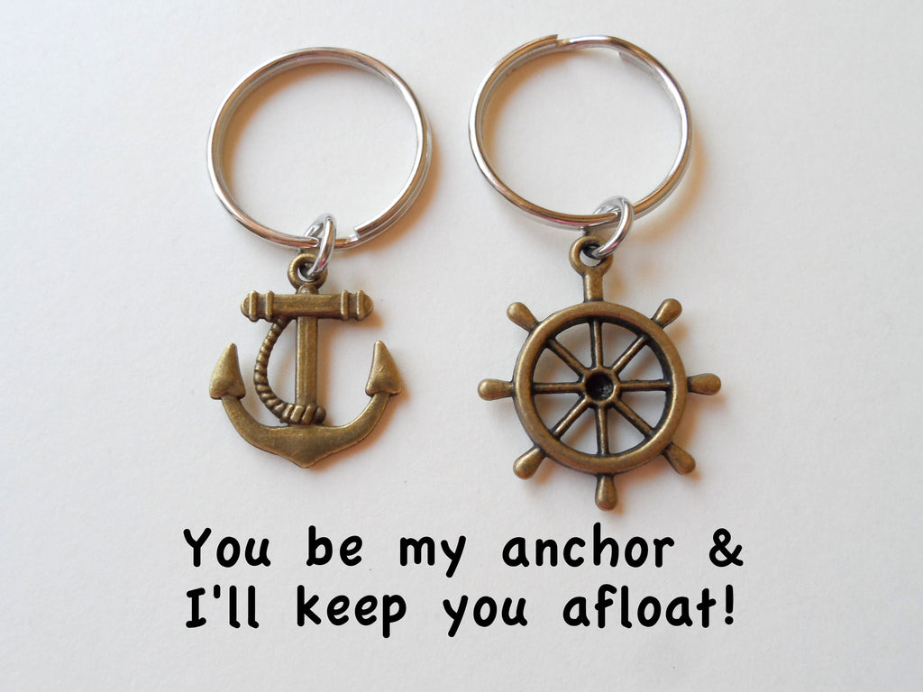 Bronze Ships Helm and Anchor Keychain Set