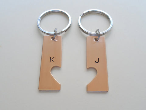 Personalized Bronze Keychains With Cutout Matching Heart Shape, Hand Stamped with Initial; Handmade Anniversary Couples Keychain