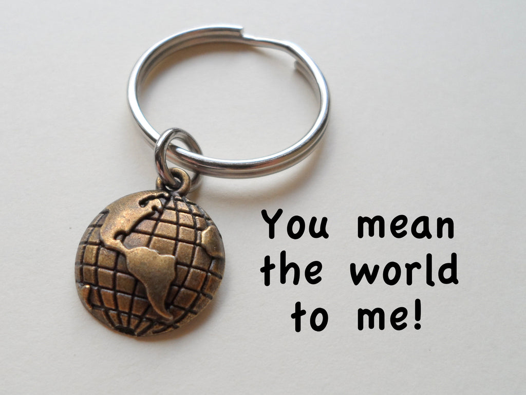 Bronze World Globe Keychain