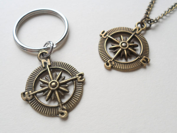 Bronze Open Metal Compass Necklace and Keychain Set