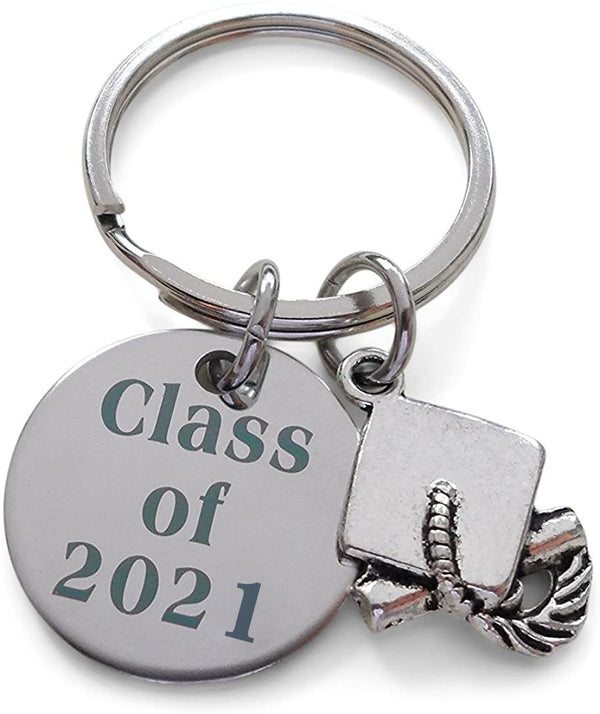 Class of 2021 Keychain with Graduation Cap Charm, Graduation Gift Keychain for Graduate