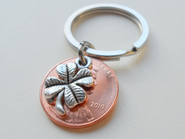 Clover Charm Layered Over 2010 Penny Keychain; 9 Year Anniversary Gift, Birthday Gift, Couples Keychain