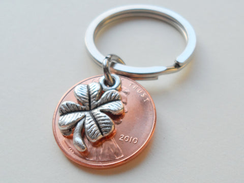 Clover Charm Layered Over 2010 Penny Keychain; 11 Year Anniversary Gift, Birthday Gift, Couples Keychain