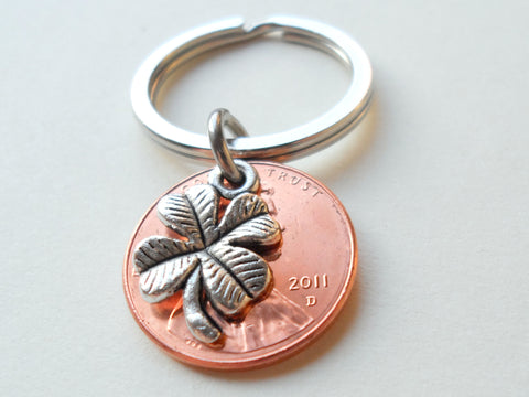 Clover Charm Layered Over 2011 Penny Keychain; 10 Year Anniversary Gift, Birthday Gift, Couples Keychain