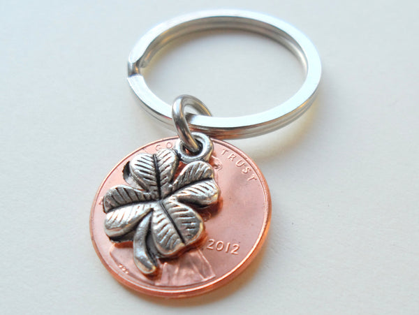 Clover Charm Layered Over 2012 Penny Keychain; 5 Year Anniversary Gift, Birthday Gift, Couples Keychain