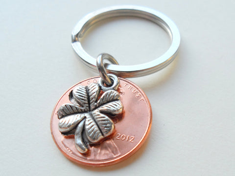 Clover Charm Layered Over 2012 Penny Keychain; 9 Year Anniversary Gift, Birthday Gift, Couples Keychain
