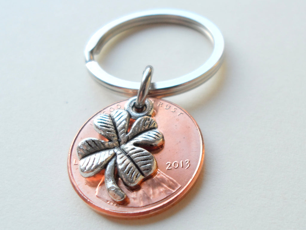 Clover Charm Layered Over 2013 Penny Keychain; 4 Year Anniversary Gift, Birthday Gift, Couples Keychain