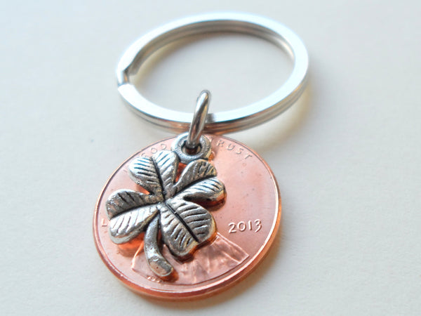 Clover Charm Layered Over 2013 Penny Keychain; 7 Year Anniversary Gift, Birthday Gift, Couples Keychain