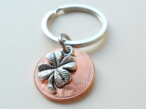 Clover Charm Layered Over 2014 Penny Keychain; 6 Year Anniversary Gift, Birthday Gift, Couples Keychain