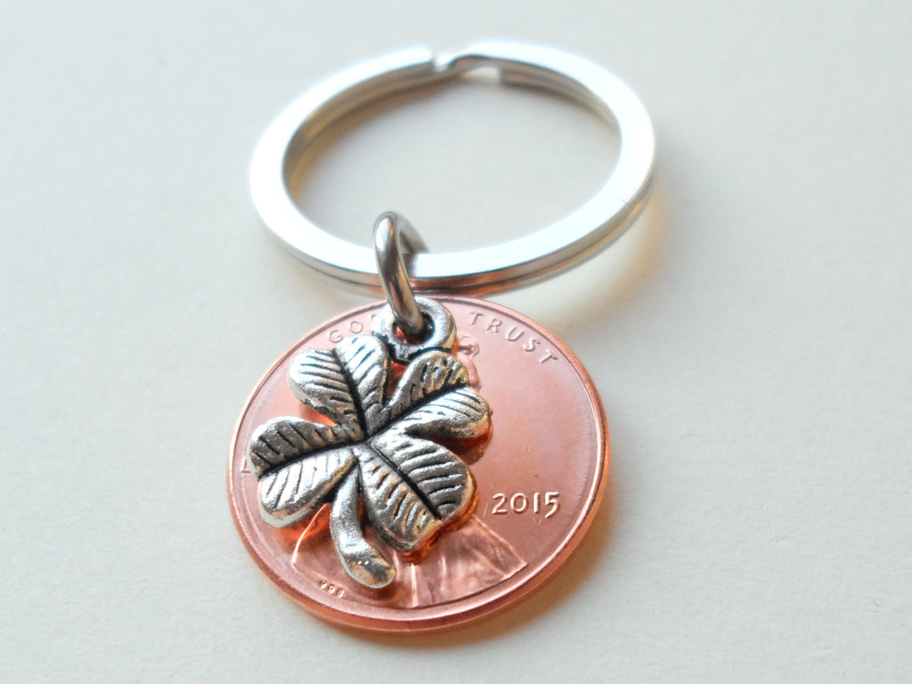 Clover Charm Layered Over 2015 Penny Keychain; 4 Year Anniversary Gift, Birthday Gift, Couples Keychain